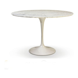 """Rove Concepts - Eero Saarinen Round Tulip Table White Cararra Marble, 48"""" - Beautiful Eero Saarinen Tulip Marble, Solid marble top in white, manufactured with Carrara Marble polished with a smooth edge. White marble top has natural grey veins. Glossy Aluminum Cast base bottom available in white - Available in 5 different diameters: 36"""", 40"""", 44"""", 48"""" or 52"""""""