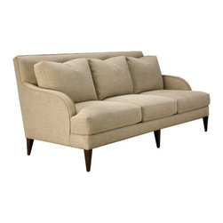 Thayer Coggin - Thayer Coggin | Hadley Sofa - Made in the U.S.A. by Thayer Coggin.The Hadley Sofa exudes a classic elegance with an eclectic quality that lends itself to a variety of modern and transitional spaces. Hadley features a fully hand-upholstered frame with a high backrest and gracefully rounded armrests, topped with plump seat and back cushions that offer just the right combination of give and support. Luxuriously finished in a quality selection of fabric upholstery options, this sofa is lofted on an exposed wood base in a complementary finish that adds a richness and refinement.