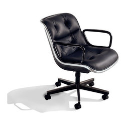 "Knoll - Pollock Mid-Back Office Chair with Arms - Learn more about Pollock Mid-Back Office Chair with Arms below: Features at Glance • Specifications • Order with ConfidenceBack To Top Features at Glance *This product is made to order and thus customer orders cannot be canceled once products go into production -Design Year: 1965. -Steel support plate welded to frame spans width of seat cushion. -Shell is made of integrally colored, black textured polypropylene. -Polished stainless or black epoxy finished top caps. -Standard five-star design with standard hard wheel casters. -Cushion is made of multi-density urethane foam with button tufted details. -The cushion has pre-sewn cover. -D5G swivel tilt control: 360 degree swivel. -Tilt with tilt tension. -Pneumatic Seat height adjustment. -This chair is also available with jury-base - please contact us if you are interested. Care & Maintenance: Please view Knoll Care & Maintenance Guide to learn more about caring for your Knoll furniture Back To Top Specifications -Seat height: 15.5"" - 20.5"". -Overall dimensions: 28.5"" - 33.5"" H x 26.25"" W x 28.25"" D. clear = all> Back To Top Order with Confidence -Sustainability Statement: Sustainable design is key component of Knoll's environmental focus. Knoll's commitment to social responsibility and healthy environment has prompted company to further articulate its longstanding environmental programs and, with encouragement and support from colleagues in industry, Knoll has re-energized its focus on such ""green"" initiatives as life cycle analysis and LEED� certification. Knoll is proud to have contributed to projects have received LEED certification from U.S. Green Building Council. -Knoll products are guaranteed to be free from defects in materials and workmanship during applicable warranty period set forth in. -Should you discover shortly after receiving your Pollock Executive Arm Chair parts are either damaged or missing, please call us immediately, and we will be happy to send you replacement parts as soon as possible and at no additional cost. -Each authentic Knoll product includes certificate of authenticity. The Pollock Executive Arm Chair continues to maintain its role as quintessential executive chair with its timeless contemporary elegance. Offered in variety of luxurious fabrics, leathers and finishes, versatile and extremely comfortable chair features waterfall front and thick tufted upholstery, and signature aluminum rim. Pollock Executive Arm Chair is perfect choice for conference rooms, office seating and many other applications."