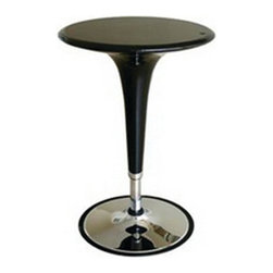 Wholesale Interiors - Nu Black Table - Table constructed of steel tubing and is made of black ABS plastic that comes in a variety of colors. Raising and lowering the table base is made simple with the gas hydraulic piston system. From its futuristic curves to its shiny vintage chrome the Clyde Adjustable Height Pub Table adds contemporary cool to your rec room or kitchen. Made of steel tubing and ABS plastic this pub table has a chrome-finished base and a tabletop that comes in your choice of colors. The rubber-lined base grips the floor and helps prevent tipping while the gas hydraulic piston system makes raising and lowering the table base easy. It adjusts in height from 25 to 35 inches.