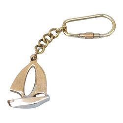 "Handcrafted Model Ships - Brass Yacht Key Chain 5"" - Nautical Key Ring - This nautical-themed key chain is both adorable and functional, featuring a sailing boat silhouette key fob. Crafted from solid brass, this key chain is as beautiful as it is durable and functional. A knurled knob allows you to easily and securely add or remove keys from the ring. These wonderful key chains make ideal gifts for friends, family, employees, clients, co-workers, and especially yourself."