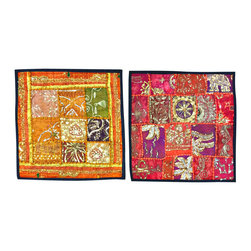 Mogul Interior - Embroidered Yellow Orange Pillow Covers, Set of 2 - The ethnic combination of gujrati sequin embroidery and stunning vibrant colors, sari tapestry patchwork and sequin embroidered that shows India's rich cultural heritage.