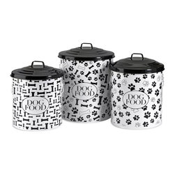 iMax - iMax Dog Food Storage Canisters, Set of 3 - This set of three storage canisters are great for storing dog food and treats. The lidded design keeps food fresh. Set includes small, medium and a large size.