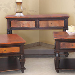 Artisan Home Furniture - Artisan Home Copper Ridge Console Table in Copper & Black Rubbed - The firing gives copper its many variations and makes each top a work of art. No two tops will match  but are finished to blend together.  Solid wood provides strength and durability.  Rich deep stain adds old world beauty.  Drawers provide convenient storage.  Legs can be unscrewed to protect during transportation and handling.