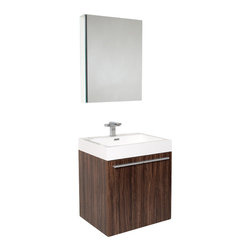 Fresca - Fresca Alto Walnut Modern Bathroom Vanity w/Faucet & Medicine Cabinet - Very handsome in its simplicity, this is a vanity that will move in, not stretch out and take up space, but will instead easily consolidate everything into two pieces. Life will be a less messy affair with this vanity installed. A wonderfully quietly designed piece, will invite everyone to come in and put outside troubles at the doorstep. Complete with a medicine cabinet that can be installed in two ways: wall mounted, or recessed.