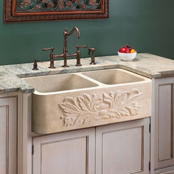 Ivy Polished Marble 60/40 Offset Double-Bowl Farmhouse Sink - The natural beauty of the ivy detailing carved on this marble farmhouse sink will add an elegant focal point to any kitchen. The polished marble allows the natural variations of the marble to shine.
