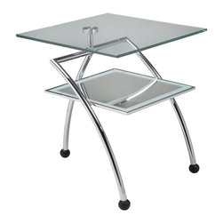 """Pastel Furniture - Pastel Furniture Hakkasan 20 Inch Square End Table w/ Glass Top - The Hakkasan end table is a simple yet elegant design that can add that stylish and modern flair to your living area. This end table is made with chrome frame and wenge wood with a 20"""" square glass top."""
