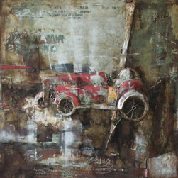 YOSEMITE HOME DECOR - Classic II Art Painted on Metal Sheet - Classic Car Vintage art piece on canvas using acrylic paints and heavy texture on metal materials to create an  arrangement.