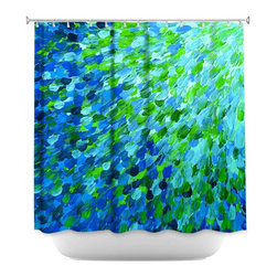 DiaNoche Designs - Shower Curtain Artistic - Splash Out Green - DiaNoche Designs works with artists from around the world to bring unique, artistic products to decorate all aspects of your home.  Our designer Shower Curtains will be the talk of every guest to visit your bathroom!  Our Shower Curtains have Sewn reinforced holes for curtain rings, Shower Curtain Rings Not Included.  Dye Sublimation printing adheres the ink to the material for long life and durability. Machine Wash upon arrival for maximum softness. Made in USA.  Shower Curtain Rings Not Included.