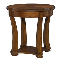 "Hammary - Decatur Round End Table - ""High end style meets modern scale in this collection. The beauty of starburst cherry veneer patterns can be found on each piece. Crafted of Birch Solids, Cherry & Highly Figured Cherry Veneers in a Russet Brown Finish."