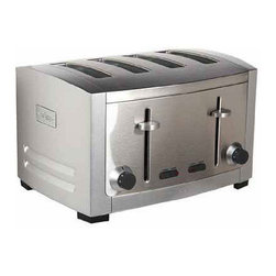 All Clad - All Clad SS 4-Slice Toaster - These elegant stainless steel and die-cast toasters feature 6 browning levels from light to dark plus defrost and bagel settings. The high-lift lever accomodates smaller pieces of bread and cancel function stops toasting mid-cycle.                                                                                                                                                                                                                             -Elegant stainless steel and die-cast finish