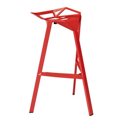 "LexMod - Launch Stacking Bar Stool in Red - Launch Stacking Bar Stool in Red - Listening is an artform with this bar stool that encourages positive social engagement. While surprisingly comfortable to sit upright in, Launch also reminds you to lean forward and smile. It is an edgy piece, that conveys both a sense of minimalist modernism, and a willingness to enter the future. Made of a coated aluminum frame with non-marking feet, Launch comes fully-assembled and stackable for easy use. Set Includes: One - Launch Bar Stool Sleek modern bar stool, For indoor or outdoor use, Coated aluminum frame, Easy wipe-clean surface, Non-marking feet, Comes fully-assembled, Fully-stackable Overall Product Dimensions: 22""L x 22.5""W x 32.5""H Seat Dimensions: 22""L x 22""W x 30.5""HBACKrest Height: 2.5""H - Mid Century Modern Furniture."