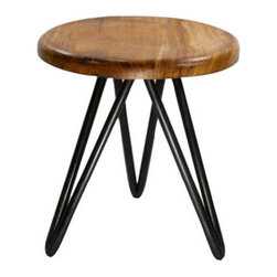 Iron Tripod Stool - Made with reclaimed wood and sturdy iron hairpin legs, this Iron Tripod Stool is the perfect stylish perch for all of your bathroom primping needs.  Because every piece of reclaimed wood is different, each stool is one of a kind.