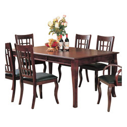 Coaster - Coaster Newhouse Rectangular Dining Table in Cherry Finish - Coaster - Dining Tables - 100500 - Create a fantastic setting for dining in your home with the elegant Newhouse collection in a warm Cherry finish over birch veneers that will blend beautifully with your decor. The rectangular dining table with one 18-inch leaf creates a sophisticated place for up to six to dine. The arm and side chairs feature dark durable leather-like vinyl for style and comfort for sitting at the table. A buffet and hutch create a storage and display space to coordinate with your dining room furniture. Counter height dining options are great for your more casual dining and entertainment room too offering the same elegant and sophisticated style. The clean and sophisticated style of these pieces will complement your home for a space that you can really live in. Create a harmonious dining ensemble with this stunning collection perfect for entertaining friends and family.This rectangular dining table with one 18-inch leaf creates a sophisticated place to dine with family and friends. Enjoy the inviting atmosphere this table adds to your dining room with its dark Cherry finish and subtly curved legs. Use the coordinating arm chairs and side chairs with vinyl upholstery to complete your table group.Features: