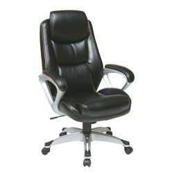 """Office Star Products - Executive Eco Leather Chair with Padded Arms, Headrest and Coated Base - Executive Eco Leather Chair with Padded Arms, Headrest and Coated Base Feturing Coil Spring Seating Comfort. Headrest. One Touch Pneumatic Seat Height Adjustment. Locking Tilt Control with Adjustable Tilt Tension.; Series: Executive Seating- Eco Leather; Color: Black; Materials: Eco leather/metal; Thick Padded Eco Leather Seat and Back with Built in Lumber Support; Feature Coil Spring Seating Comfort; Headrest; One Touch Pneumatic Seat Height Adjustment; Locking Tilt Control with Adjustable Tilt Tension; Padded Loop Arms with Silver Coated Accents; Black Eco Leather (-EC3); Heavy Duty Silver Coated Base with Black End Caps and Dual Wheel Carpet Casters; Dimensions: Assembled: 28.25""""W x 30""""D x 47.25""""H; Seat: 21""""W x 19.25""""D x 4.5""""Thickness; Back: 21.25""""W x 27""""H"""