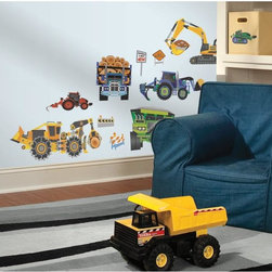 Roommates Decor - New Speed Limit Construction Vehicles Peel & Stick Wall Decals - Turn your little one's room into a construction zone with these construction vehicles wall decals. Your child can apply these to his walls, windows, desk, or dresser and reposition them countless times. Simply peel the decal from the backing and apply to any smooth, flat surface. It�s easy enough for even your littlest worker to do!