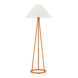 "Sonneman - Contemporary Sonneman Tetra Gloss Orange Floor Lamp - Robert Sonneman has taken the timeless style of tripod surveyor lamps and simplified it to an elegant minimalist design. In this Tetra collection of floor lamps he celebrates straight angular lines of the triangle while remaining balanced with curves on the base and shade. White cotton pairs with a vibrant gloss orange finish in this contemporary floor lamp design. Sonneman Tetra collection floor lamp. Gloss orange finish. White cotton empire shade. Takes one 150 watt bulb (not included). 3-way turn switch. 51"" high. Shade is 19"" wide 9"" high. Base is 12"" wide.  Sonneman Tetra collection floor lamp.  Gloss orange finish.  White cotton empire shade.  Takes one 150 watt bulb (not included).  3-way turn switch.  51"" high.  Shade is 19"" wide 9"" high.  Base is 12"" wide."