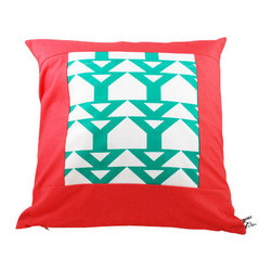 Moko & Co. - Pillow Cover - Jump Rope in Turquoise and Coral, 14x14 - The Process: