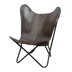 Fashion N You - Brown Leather Butterfly Chair - The classic leather butterfly chair is made one at at time, hand cut and sewn with a coarse, heavy-duty thread. This chair is the perfect addition to liven up any room in your home.