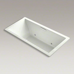 """KOHLER - KOHLER Underscore(R) 72"""" x 36"""" drop-in BubbleMassage(TM) Air Bath with chromathe - Undermount installation is what drives today's contemporary trends, with the increased use of natural materials in the bathroom. The Undercore bath's simple, crisp design lines perfectly complement granite, stone or tile."""