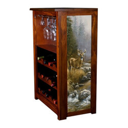 Kelseys Collection - Wine Cabinet 15 bottle October Mist by Millette - Wine Cabinet stores fifteen wine bottles and glassware with licensed artwork by Rosemary Millette giclee-printed on canvas side panels  The frame, top, and racks are solid New Zealand radiata pine with a hand stained and hand rubbed medium reddish brown finish, which is then protected with a lacquer coat and top coat. The art is giclee printed on canvas with three coats of UV inhibitor to protect against sunlight, extending the life of the art. The canvas is then glued onto panels and inserted into the frames.