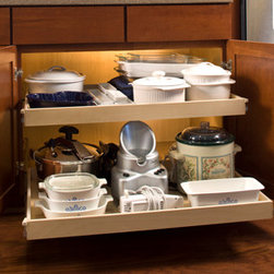 ShelfGenie Glide-Out Shelves - Open up your storage possibilities with a stile removal.  Remove that pesky center strip of wood that cuts your cabinet in half and enjoy a nice, wide pull out shelf with unobstructed access when you open the cabinet doors.