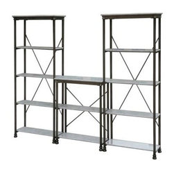 Home Styles 13-shelf Marble and Steel Orleans Storage Unit - Long gone are the days of heavy wooden office furniture. This sleek and polished set was inspired by 18th century French architecture. My inner DIYer wants to spray paint the body gold and the shelves black, and add a layer of custom-cut glass on top.