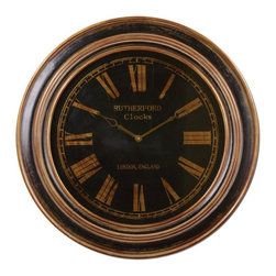 Uttermost - Black Distressed Wall Clock-32 in. - Distressed  Buckley  Vintage  Bronze  Wall  Clock          Vintage  Clock  with  aged  and  weathered  wood  clock  face.  Rutherford  style  clock  with  burnished  details.  Features  a  distressed  black  finish  with  heavily  antiqued  golden  bronze  details.  Clock  face  is  under  glass.