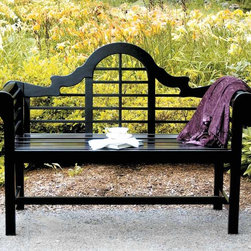 Achla - All Weather Black Park Bench w Arched Back & - Outstanding park bend displays a weather resistant black polyurethane finish for lasting durability and beauty, season after season.  This 48 inch wide bench features classic lutyens styling with an arched and slatted back that will enhance any outdoor setting! * Weather resistant black polyurethane finish, Durable. 48 inch wide bench. Classic lutyens styling with an arched and slatted back48in.W x 20in.D x 39in.H