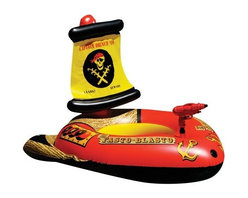 Poolmaster - Pirate Ship with Action Squirt - Go head to head in the battle for the pool with the poolmaster pirate ship with action squirter. The pirate ship features an easy-to-use water gun that attaches to your ship a water gun feeder line that goes directly into the pool for continuous water supply and a seat that inflates separately from the ship and allows your legs to kick freely. Made of heavy duty 14 gauge vinyl for extra durability. Recommended for ages 8 years and above.