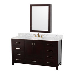 "Wyndham - Abingdon 60"" Bathroom Vanity Set with Medicine Cabinet in Espresso/White Carrera - Distinctive styling and elegant lines come together to form a complete range of modern classics in the Abingdon Bathroom Vanity collection. Inspired by well established American standards and crafted without compromise, these vanities are designed to complement any decor, from traditional to minimalist modern. White Carrera Marble Sink Counter; Integral white undermount porcelain Sink; Constructed of environmentally friendly, zero emissions solid Oak hardwood, engineered to prevent warping and last a lifetime; 12-stage wood preparation, sanding, painting and finishing process; Highly water-resistant low V.O.C. sealed finish; Unique and striking contemporary design; Minimal assembly required; Deep Doweled Drawers; Practical Floor-Standing Design; Fully-extending under-mount soft-close drawer slides; Concealed soft-close door hinges; 8"" widespread 3-hole faucet mount; Brushed Chrome exterior hardware finish; Plenty of storage space; Plenty of counter space; Includes drain assemblies and P-traps for easy assembly; Includes matching mirror; Faucets not included; 2 doors, 9 drawers; 373 lbs. Dimensions: Vanity - 61""W x 21-1/2""D x 34-7/8""H to counter; Medicine Cabinet - 28-1/2"" x 6-1/2""D x 34-1/2""H"