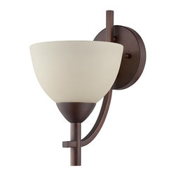 Jeremiah by Craftmade - Hartford Old Bronze One-Light Wall Sconce - - The Hartford series features clean lines and can be thought of as transitional or contemporary. The Hartford is offered in Satin Nickel with Frosted White glass and in Oiled Bronze with Creamy Frost Glass. Each finish includes 7 SKU's: 3 chandeliers, 2 pendants and 2 wall sconces.  - Mounting Method: Wall mount  - Back Plate Dimension: 5.2- inch L x 5.2- inch W x 0.8-inch D  - Bottom to Outlet: 8.5-inch  - Back Plate Shape: Round  - Top to Outlet: 3.38-inch  - Bulb is not included  - Minor assembly required  - Bulb Size: A-Type  - Bulb Base: Medium  - Color: Brown Jeremiah by Craftmade - 37661-OB