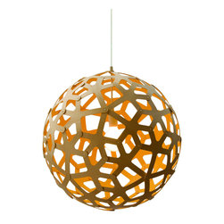 David Trubridge - David Trubridge Coral 600 Pendant Lamp, Yellow - This coral-reef-inspired lamp features a series of extended stems, creating an organic pattern. Its peek-a-boo design allows you to enjoy the silhouette on the outside, yet still see what's under the surface.