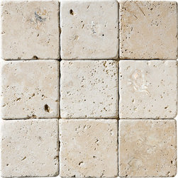 Ivory Classic Tumbled 4×4 Travertine Tiles -