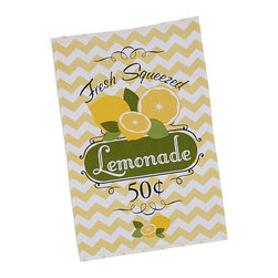 Design Imports - 'Fresh Lemonade' Printed Dish Towel - Set of Two - Pepper the kitchen with a cheery touch of color by hanging this soft cotton dish towel within close reach of the sink for extra convenience and down-home charm.   Includes two dish towels 18'' W x 28'' H 100% cotton Machine wash; tumble dry Imported