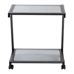 Eurostyle - Eurostyle L Printer Cart in Graphite Black & Smoked Glass - Finished to match the L Desk, this cart has plenty of room for larger printer and supplies. And with four casters, it's ready to roll. What's included: Printer Cart (1).