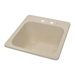 "Lyons Industries - Laundry Tub, 20""L x 25""W with Extra 12"" Deep Sink, Acrylic Self-Rimming, Almond - Lyons Industries Almond Self-rimming acrylic Laundry Sink with molded soap dish. This 20"" x 25"" sink has a functional design, with a 12"" deep bowl and two faucet holes on 4"" centers. This sturdy sink has durable easy to clean high gloss acrylic construction with a fiberglass reinforced insulation backer. This sink is quiet and provides a superior heat retention than other sink materials. Lyons sinks are proudly Made in America by experienced artisans supporting our economy."