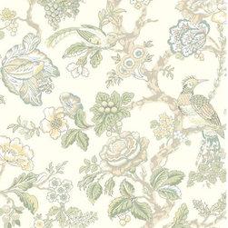 York - Casa Blanca Rose Floral Wallpaper - Blue and White Casa Blanca Rose Floral Wallpaper, Pattern #WA7737