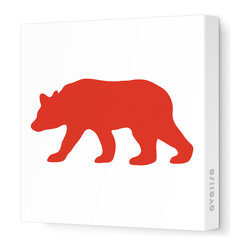 "Avalisa - Silhouette - Bear Stretched Wall Art, 28"" x 28"", Red - ""Bear"" walls? Start your own silhouette statement wall with this bear silhouette. Ready-to-hang stretched canvas wall art is a fun way to introduce animal shapes to future nature lovers."