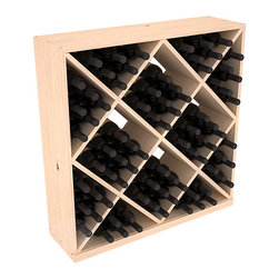 Solid Diamond Wine Storage Cube in Pine - Elegant diamond bin style bottle openings make for simple loading of your favorite wines. This solid wooden wine cube is a perfect alternative to column-style racking kits. Double your storage capacity with back-to-back units without requiring more access area. We build this rack to our industry leading standards and your satisfaction is guaranteed.