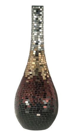 Dale Tiffany - Dale Tiffany AV10721 Metallic Mosaic Modern / Contemporary Tall Vase - All of the items in our Copper / Gold / Silver Series are hand set with a mosaic pattern of prismatic shades of copper, gold and silver. The multi colored metallic mosaic pattern on this decorative tall vase provides a warm splash of color in your home or office. A stunning choice for a mantle, entryway table, console or buffet.