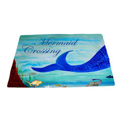 """xmarc - Mermaid Area Rugs, Mermaid Crossing, 96""""X 48"""" - Mermaid area rugs, art appears on the top side, which is made of a soft plush polyester fabric. Bottom is made of durable white rubber mat with rounded and sewn corners."""