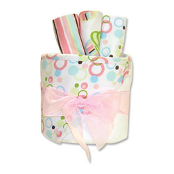 """Trend Lab - Gift Cake - Cupcake Hooded Towel - Trend Lab's Cupcake Gift Cake is the perfect shower centerpiece and a practical gift for any mom to be. Gift set contains one hooded towel and three wash cloths. Hooded towel is white terry with an fun bubble print combining bubblegum and hot pink, robin's egg blue, turquoise, green apple and limeade with pops of chocolate throughout the hood and trim. Wash cloths each have fun, modern printed cotton on the front with terry on the back. Wash cloth patterns include: one each of a stripe, bubble dot and cupcake scatter print in bubblegum and hot pink, robin's egg blue, turquoise, green apple and limeade with pops of chocolate accents. Hooded towel measures 32"""" x 30"""" and wash cloths 8"""" x 8"""". Hooded towel is wrapped around all three wash cloths to resemble a cake with topper and packaged in clear cellophane with ribbon and gift tag."""