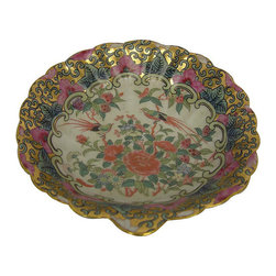 None - Rose Medallion Porcelain Scallop Dish - An elegant addition to your home,Asian hand painted dishes by Rose Medallion are made of porcelain in colors of gold,green and black. The perfect addition to your existing home accessory collection,this scalloped dish stands out against the rest.