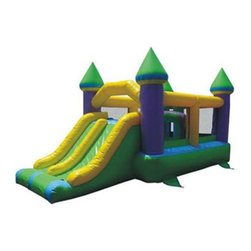 Kidwise Outdoor Products Inc - Commercial Super Bounce and Slide Castle Inflatable Multicolor - ST-1006B-COM - Shop for Tents and Playhouses from Hayneedle.com! Let kids play and bounce the day away with the fun and exciting features of the Super Bounce and Slide Castle. This castle-themed attraction offers an obstacle course as well as dual slides for maximum fun. Ideal for a variety of special events or parties this large arena is made to hold up to 400 pounds or eight kids. Made from 18-ounce vinyl material (PVC Tarpaulin) it offers everything needed for a fun time. This inflatable arena includes a blower stakes and instructions. Also includes 30 day warranty against material defects and workmanship. Folded up or inflated the entire product weighs 176 pounds and is ideal for commercial use.Information About DeliveryWe are pleased to offer LTL delivery on this item that includes tailgate service. Tailgate service means that the item is lifted off the truck and placed at an immediate curbside location such as a driveway or parking lot. Our LTL delivery service will call to pre-arrange a delivery time. Please note that the item is very heavy. We suggest you make separate arrangements for help moving the item to its final location. If you would like additional help with the item from the LTL delivery service you may make separate arrangements when confirming the delivery time. Additional help moving the item will require separate additional fees payable to the LTL carrier.A lead-free product: a note from KidwiseRecent concerns regarding inflatable bounce products with illegal lead concentrations have lead to allegations against producers and distributors of these products by the state of California. Naturally this serious matter is of concern to us and to our customers. Kidwise products are not included in these allegations. Our materials are tested at intervals throughout the year and after production runs. We have always tested for lead content in materials to veri
