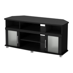 South Shore - South Shore City life Collection Corner TV Stand in Pure Black - South Shore - TV Stands - 4270690 - This Corner TV stand combines curved lines metal accents frosted glass doors and a Pure Black finish for popular contemporary style. It is a perfect blend of form and function featuring both open and closed storage options. The living room has never been so tidy and organized!_�