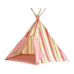 Pacific Play Tents - Pink Stripe Cotton Canvas Teepee - Dimensions: 45 in X 45 in X 56 in high