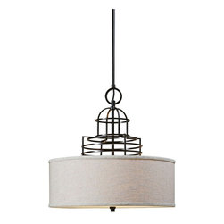 """Uttermost - Contemporary Uttermost Cupola 22"""" Wide Beige Linen Shade Chandelier - This welcoming transitional style bright three-light chandelier blends an architectural metal upper dome structure in rich weathered bronze finish with a warm beige linen hardback shade. A frosted glass diffuser softens the light and enhances the comforting look of this beautiful accent piece. Designed by Carolyn Kinder for Uttermost lighting. Weathered bronze finish. Beige linen fabric shade. Metal construction. Three maximum 100 watt or equivalent bulbs (not included). Includes 15 feet of wire three 12"""" downrods. 22"""" wide. 68"""" high. Canopy is 6"""" wide 1"""" high.   Weathered bronze finish.  Beige linen fabric shade.  Metal construction.  Three maximum 100 watt or equivalent bulbs (not included).  Includes 15 feet of wire three 12"""" downrods.  22"""" wide.  68"""" high.  Canopy is 6"""" wide 1"""" high."""