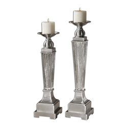 Uttermost - Canino Mercury Glass Candleholders, Set of 2 - You can always find uses for beautiful candleholders and this set is no exception. On your dining room table, they will reflect light, casting dancing rays over your tabletop. Or on a mantel, they will look stately and majestic.