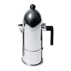 "Alessi - Alessi ""La Cupola"" Espresso Coffeemaker Small - Start your morning in style with this sleek espresso coffeemaker, made of state of the art materials. The black and silver look is clean and modern, and the cup you'll drink from this maker will be nothing short of heavenly."